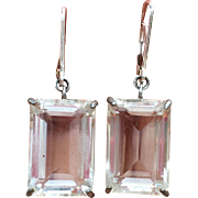 Art Deco Sterling SIlver Japan Quartz Rock Crystal Gemstone Earrings