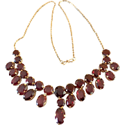 Art Deco 9k Gold Garnet Gemstone Drop Festoon Necklace
