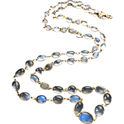Art Deco European 14k Gold Glowing Moonstone Necklace