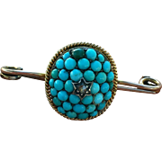 Antique 9k  Gold Victorian Diamond Pave Cluster Turquoise Brooch Pin