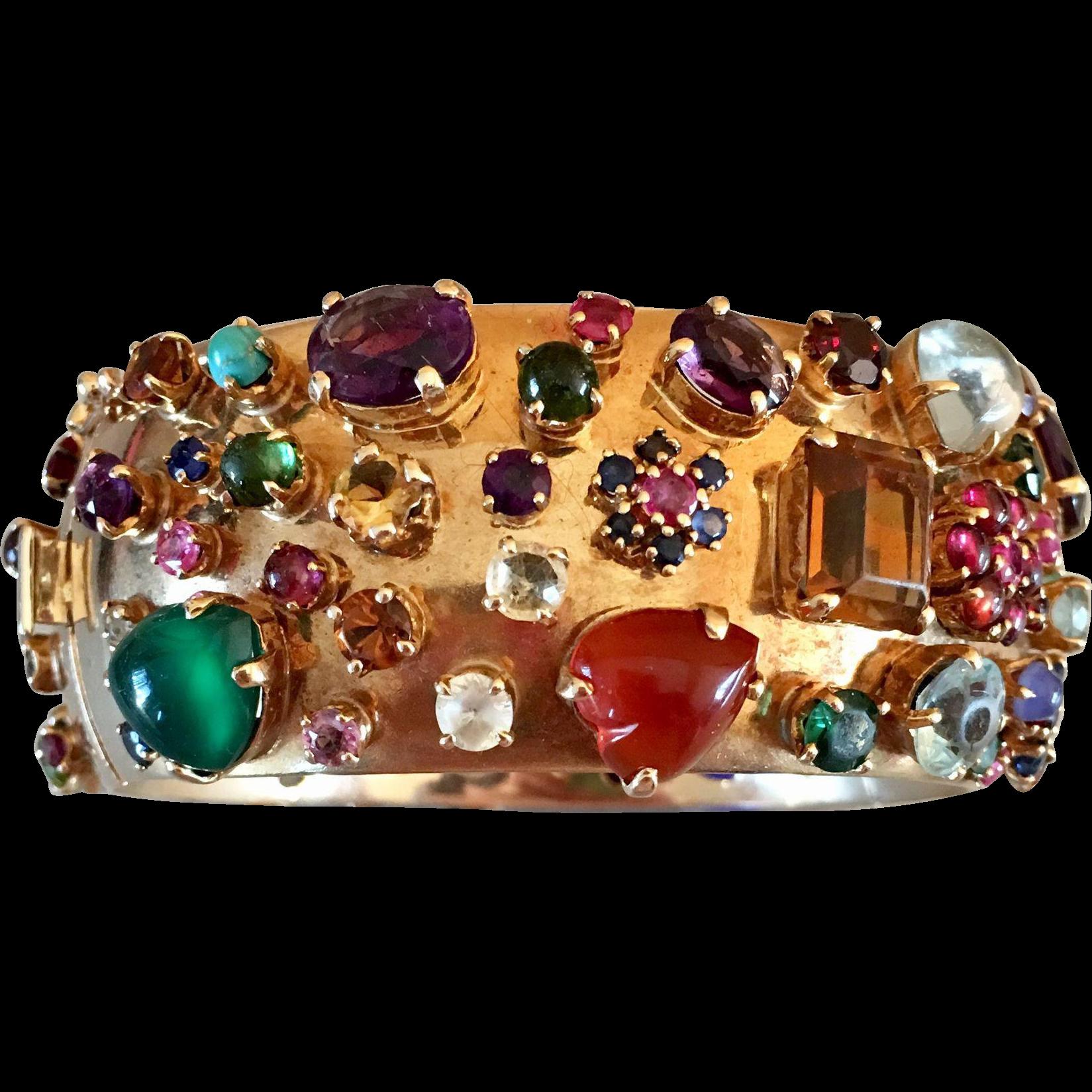Retro 14k Gold Tutti Frutti Multi Gemstone Ruby Sapphire Aquamarine Bangle Bracelet