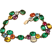 Antique Georgian 14k Gold Riviere Harlequin Paste Crystal Bracelet