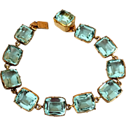 Art Deco Aquamarine Paste Crystal Open Back Bezel Set Bracelet