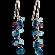 14k Gold Multi Gemstone Topaz, Tourmaline and Aquamarine Briolette Hook Earrings