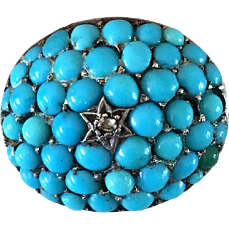 Antique Victorian Silver Pave Cluster Turquoise Diamond Brooch Pin