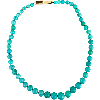 Art Deco 14k Gold Chinese Natural Turquoise Gemstone Beaded Necklace