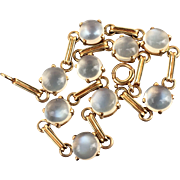 14k Gold Retro 14k Gold Glowing Moonstone Open Back Bezel Set Bracelet