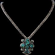 French Antique Victorian Pave Cluster Fleur De Lis Sterling Silver  Necklace