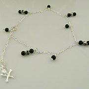 Handmade Ankle Bracelet in Sterling Silver Skulls and Onyx