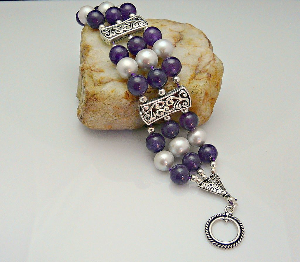 Artisan Handmade Refined Amethyst,  Sterling Silver and  Gray Cultured Pearl Bracelet