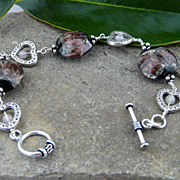 Sterling Silver Heart Bracelet with Handmade Beads and Rose Quartz