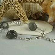 Handmade Smokey Quartz, Cultured Pearl and Sterling Silver Bracelet