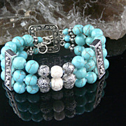 Triple Strand Turquoise,  Sterling Silver and Conch Shell Bead Bracelet