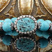 Artisan Handmade Turquoise and Sterling Silver Bracelet