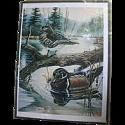 Ducks on Pond Michael Glenn Monroe 1988 Limited Edition Signed Lithograph Sporting Art