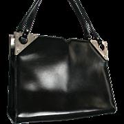 c1960s Dofan France Black Leather with Silver Hardware Trim Gorgeous Vintage Handbag Mid Century French Purse