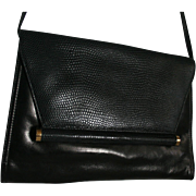 Neiman Marcus Black Leather and Lizard Convertible Clutch Purse Shoulder Bag Crossbody Vintage Stunning Handbag