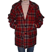 Pendleton Red Plaid Men's Wool Jacket Size M Beautiful Mint Condition