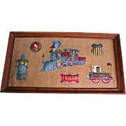 Vintage Union Pacific Great Northern Railway Railroadiana 3D Patches Framed Plaque