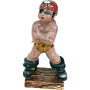 Triart Bassano Italy Tattooed Pirate Ceramic Figurine 1940s