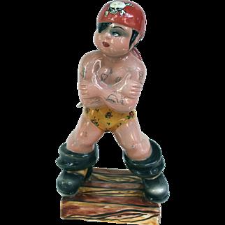 Triart Bassano Italy Tattooed Pirate Ceramic Figurine 1940s Rockabilly
