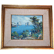 Impressionist Italian Seascape Oil Painting Artist Signed
