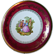 Limoges France Large Porcelaine Artistique Courting Scene Plate Wall Hanging