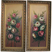 Pair Floral Roses Oil Paintings Yardlong Tall Exquisite Mid Century Artwork