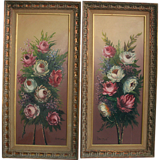 Yardlong Tall Pair Floral Roses Oil Paintings Exquisite Mid Century Artwork