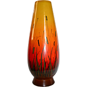 Eames Era Raymor Large Yellow to Orange Cattaiil Scenic Vase Mid Century Mod
