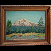 1943 Pike's Peak Colorado Oil Painting on Masonite Signed