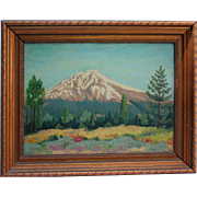 1943 Pike's Peak Colorado Oil Painting on Masonite Signed