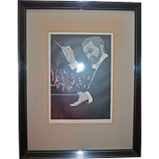 """""""Maestro"""" Music Orchestra Conductor Woodcut Print """"The Audience"""" Artist Phillip M Smith"""