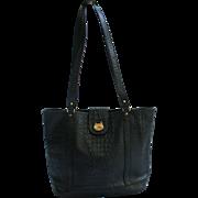 Made in USA Brahmin Fair Haven Mass Large Embossed Black Leather Tote Handbag