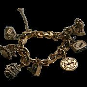 Vintage Monet Whimsical Charms Bracelet Poodle King Spinning Wheel & More