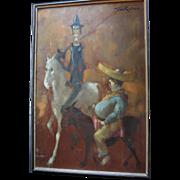 Man of La Mancha Don Quixote & Sancho Panza Large Oil Painting by British Artist Tom W. Quinn (b1918)
