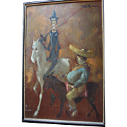 Man of La Mancha Don Quixote & Sancho Panza Large Oil Painting by British Artist Tom W. Quinn (b1918)