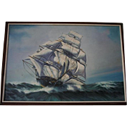 Huge Original Seascape Oil Painting by Edgar S Nucum (Listed 20th cent) Maritime Clipper Ship Scene