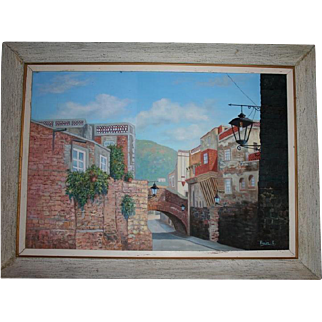 1960s Mexican Cityscape Large Oil on Canvas Painting