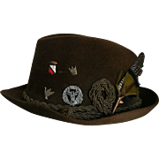 Reserved for L ** Mens Vintage New Dobbs NY Fedora Sz 7 Feather & Authentic German Medals