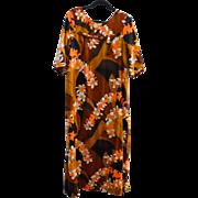 Gorgeous Authentic Vintage Hawaiin Dress Sz 20 Fiery Autumn Orange Colors