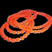 Spring! 6 Ft Long Art Deco Flapper Length Orange Glass * Crystal Necklace