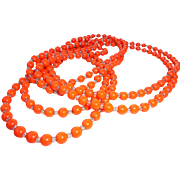 "Halloween Art Deco Flapper Length Orange 80"" Long Glass * Crystal Necklace"