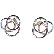Large 14K Tri-Color Gold Love-Knot Earrings