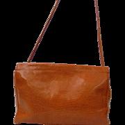 Vintage New! Italian Snakeskin Burnt Orange Shoulder Bag by Paola Del Lungo