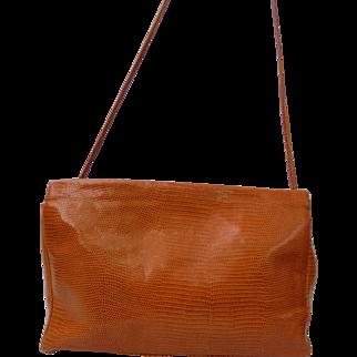 Vintage NEW Burnt Orange Italian Snakeskin Shoulder Bag by Paola Del Lungo