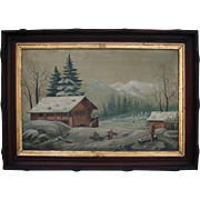 Antique 1870 American Northwest Folk Art Oil Painting