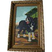 1892 Antique American Naive School Beautiful Dog Oil Painting