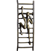 3D Modernist Acrobatic Figure Climbing Ladder Brooch