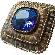 Gorgeous Kramer Signed Pendant Brooch Huge Sapphire Blue Center Faceted Rhinetone
